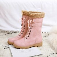 Womens Winter Fashion Fur Trim Lace Up Ankle Boots Low Heel Warm Snow Boots Size