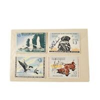 4 Vtg 50's-60's Migratory Bird Hunting Stamps US Department of the Interior Used
