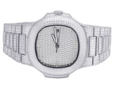 Mens Iced Out White Stainless Steel 40MM PP Simulated Diamond Watch