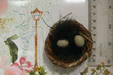 Grass NEST 6cmWide x 2cmDeep + 2BIRD EGGS 1.6cmx1.3cm + Feathers Touch of Nature