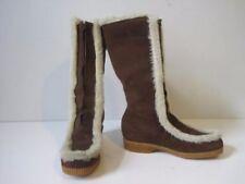 Womens Winter Boots Sz 7 Flat Boho Mukluks DUNHAMS ESKIPADES Suede Brown VTG