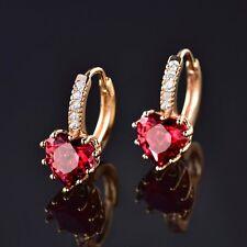 Fashion 18k Yellow Gold Filled Love Heart Red Garnet Women Hoop Earrings jewelry