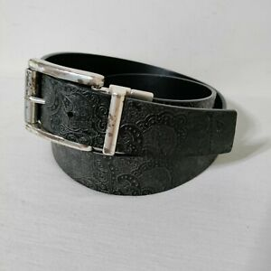 Robert Graham Black Reversible Paisley Belt 38 Tooled Faux Leather Silver Buckle