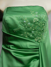 Clover Green Satin Formal Evening Ball Gown Prom Bridesmaid Strapless Dress Sz 2