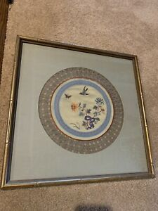Asian Silk Fabric Art Birds Flowers Framed In Metallic Bamboo Like Wood. Round