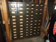 3 Vintage Antique File Card Cabinets 42 Drawers Steam Punk Man Cave.