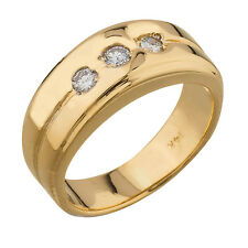 14K Yellow Gold Diamond Mens Band 0.15ct TDW Size 7 100% REAL