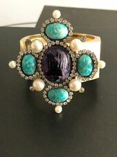 VINTAGE LAWRENCE VRBA JEWELLED TURQUOISE CUFF BRACELET(HARD TO FIND)