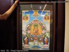 Tibet Buddhism Fane Handkwork made silk Sakyamuni Buddha TangKa Shrines
