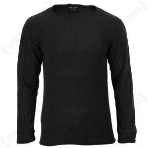 Black Round Neck Thermal Underwear Set - Winter Warm Fleece Lining Base Layer