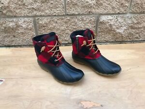 NWOT/B Sperry Saltwater Duck Boots , Red / Black Check ,  Sz US 10 M