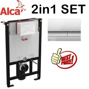 ALCA 0.85M CONCEALED WC TOILET CISTERN FRAME WITH MATT CHROME FLUSH PLATE 2in1
