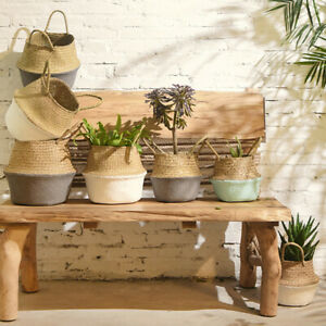 Seagrass Wicker Basket Flower Pot Folding Basket Dirty Basket Storage Decor