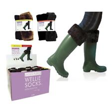 Neuf filles femmes polaire wellie chaussettes warmers welly liners 3 tailles