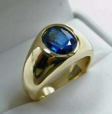 3.00Ct Oval Cut Blue Sapphire Diamond Bezel Engagement Ring 14K Yellow Gold FN