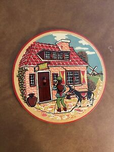 """Vintage Toy Wooden Simplex Round Peek-A-Boo Puzzle """"The Three Brothers"""" Holland"""