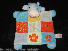 Doudou Hochet grelot plat Vache bleu orange jaune Cow 1 2 3 Fleur Orchestra