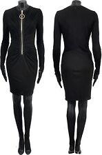 GIVENCHY 2000$ Authentic New Black Silk Viscose Zip Draped Jersey Dress