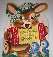 Vintage 1950's Wishing Well Easter Godchild Greetings Card Bunny Rabbit Used