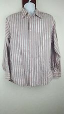 Geoffrey Beene Sz Large L Multi Striped Shirt Easy Poplin Formal O3