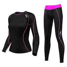 FDX Womens Compression  Base layer Top Skin Fit Shirt + Leggings pants set