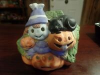"4"" Tall Ceramic Jack O' Lanterns, Cat, & Scarecrow Figurine #4583"