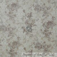 BonEful Fabric FQ Cotton Quilt VTG Tan Brown Cream Rose FLOWER Toile Shabby Chic