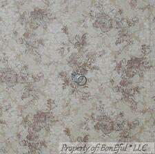 BonEful Fabric FQ Cotton Quilt VTG Tan Brown Cream Rose FLOWER Toile Shabby Chic