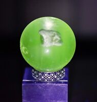 Antique German Big 36mm Sulphide Glass Marble Frog Animal Figure Vaseline Glow