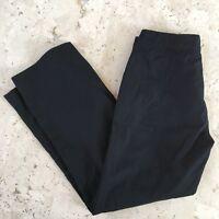 Club Monaco Stiped Balck On Black Cropped Pants Size 2 100% Cotton