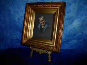 Late c19th Continental School PORTRAIT OLD WOMAN Oil Painting on Canvas Fine Art