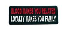 BLOOD MAKES YOU RELATED Embroidered Jacket Vest Patch Funny Saying Biker Emblem