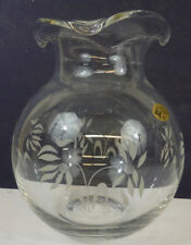 Clear Etched Glass Vase Made in Turkey The European Collection Daisies Floral