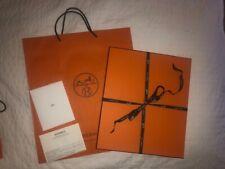 Hermes Orange Box 15x13x1 + Bag Bolduc Ribbon Tissue for Thin Clothing/Linens