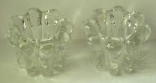 Vintage Crystal Taper Candle Holders Scalloped Edge Set of 2