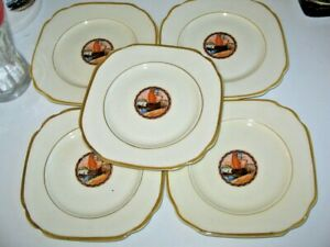 5 Empire Ware England Ivory Glaze B&B Plates Ship or Boats in Port Gold Colour R