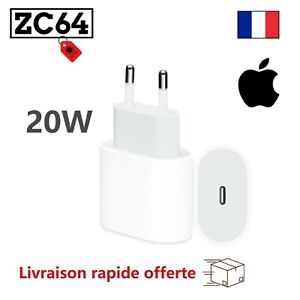 Chargeur Rapide 20W iPhone 12 11 X XR XS 8 Magsafe AirPod iPad USB-C Apple