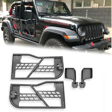 Tubular Safari Door with Sideview Mirror Fit for 07-18 Jeep JK Wrangler 2Dr