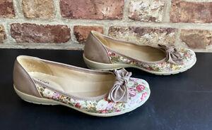 Hotter 'Jewel'Brown Floral Mix Textile/Leather Comfort Bow Shoes UK 5.5EU 38.5