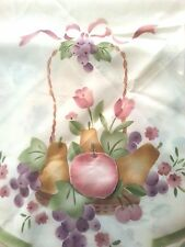 "Rare print tablecloth BASKETS OF FRUIT flowers / butterflies 60"" x 90"" New"