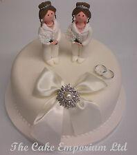 CLAYDOUGH PAIR OF LADIES SAME SEX CIVIL CEREMONY WEDDING CAKE TOPPER