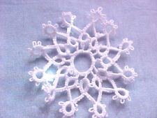 1 Tatted Snowflakes 12 Pt. White  Christmas Lace Shuttle Dove Country Tatting