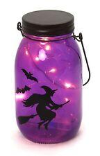 VASO in vetro LED a Batteria Festa di Halloween Lanterna Decorazione ~ Strega Viola