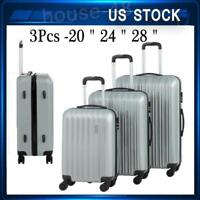 3Pcs Travel Luggage Set Bag ABS Trolley Spinner Suitcase W/Lock 20-28Inch Silver
