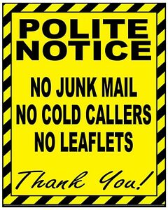 1 x No Cold Callers Junk Mail or Leaflets Door Warning Sign Sticker! 100 x 80 mm