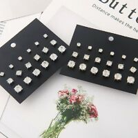 9Pairs/Set Elegant Women Rhinestone Crystal Ear Stud Earrings Vintage Jewelry TR