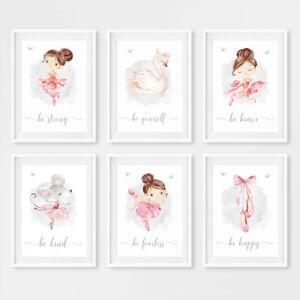 Pink Swan Princess Ballerina Nursery Wall Art Prints Girls Decor Pictures Gift