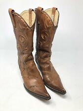 Stetson Boots Mens 8.5 Lace Overlay Leather Western Clip Toe MSRP $400