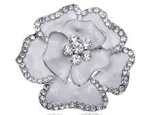 Accented Flower Fashion Brooch Pin Gift Royal Silver Tone White Alloy Rhinestone