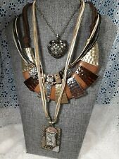 BOHO WOODEN LEATHER STRAP NECKLACES LOT OF 4 One CHICO'S AEO Copper Brass TX2136